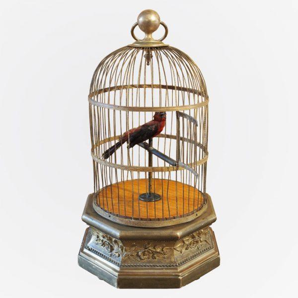 Automate : Cage à oiseau siffleur signé de la maison BONTEMS