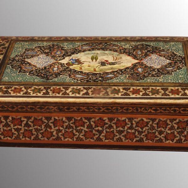 Boîte en fine mosaique et peinture - Partie de polo