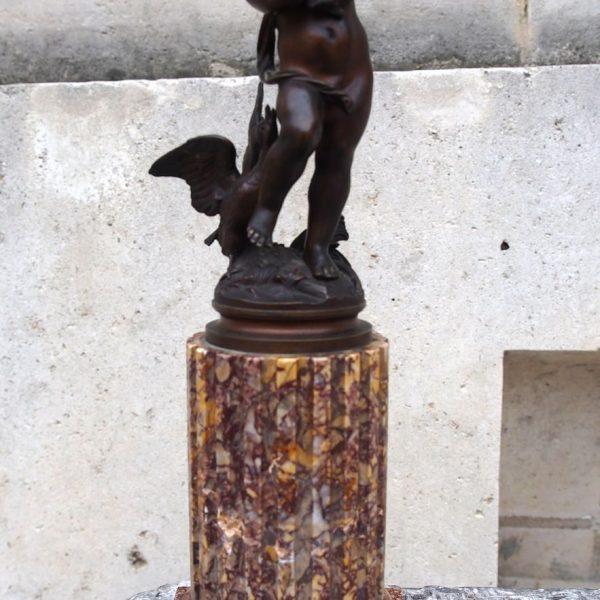Bronze à l'enfant jouant avec des volatils d'époque XIXème