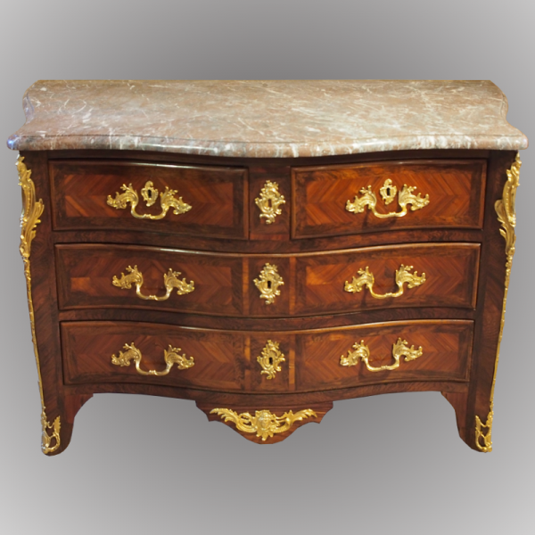 Grande commode de salon marquetée d'époque Louis XV