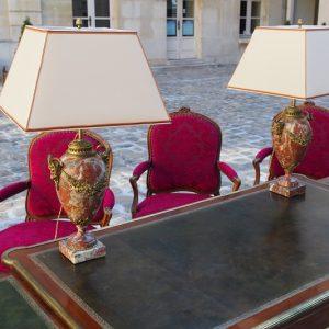 Lampes balustres marbre