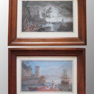 Paire d'aquarelles d'époque 18ème