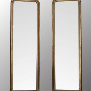 Paire miroirs bois doré
