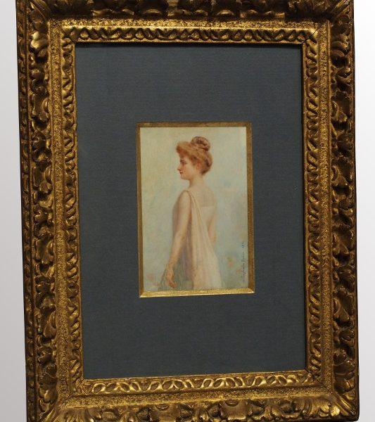 Peinture sur ivoire signée Raphaela Robin