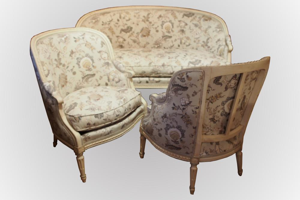 salon d 39 poque louis xvi canap corbeille et paire de berg res. Black Bedroom Furniture Sets. Home Design Ideas