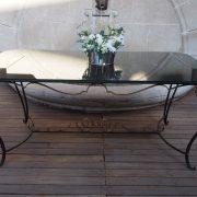 Table en fer forgé d'époque 1950-1960 et sa suite de 4 chaises et 2 fauteuils