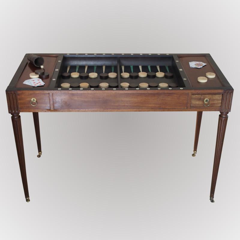 table jeux formant un bureau plat d 39 poque louis xvi. Black Bedroom Furniture Sets. Home Design Ideas