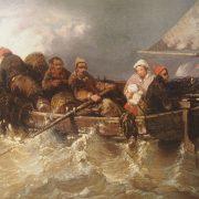 Grand tableau représentant une marine avec des Voiliers et barque