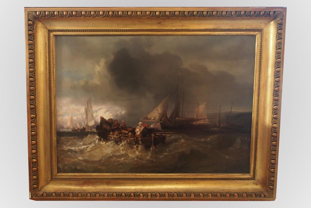 grand tableau repr sentant une marine avec des voiliers et barque. Black Bedroom Furniture Sets. Home Design Ideas
