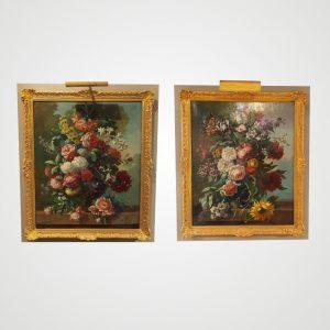 Paire de tableaux représentant des fleurs