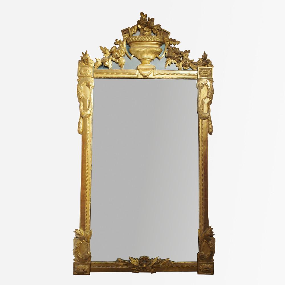 R serv grande glace d 39 poque louis xvi en bois sculpt for Grande glace miroir