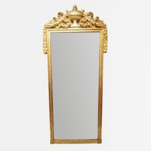 Grand miroir d'époque Louis XVI en bois sculpté et doré
