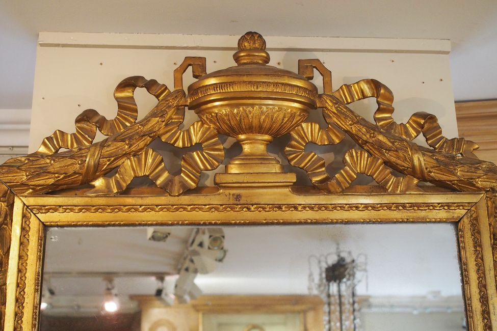Grand miroir d 39 poque louis xvi en bois sculpt et dor for Miroir louis xvi