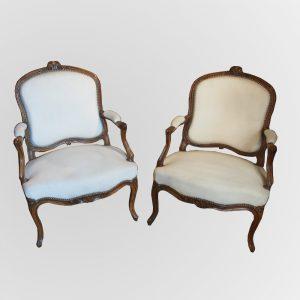 paire fauteuils louis xv creme