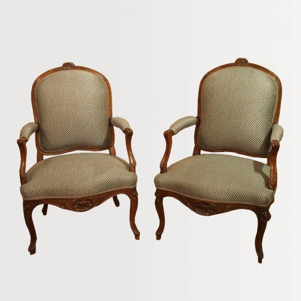 Paire de fauteuils d'époque Louis XV - Tissus gris