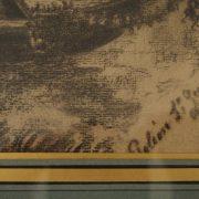 Élégante scène faite au fusain d'époque XIXeme