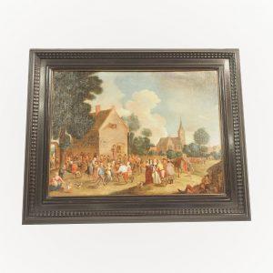 Tableau : Scène villageoise du XVIIeme siècle aux nombreux personnages