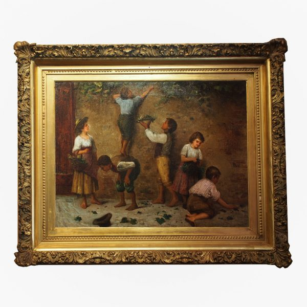 Tableau : Scène animée d'enfants cueillant des grappes de raisins