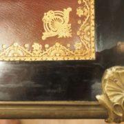 Grand bureau plat d'époque Louis XV à toutes faces en bois noirci