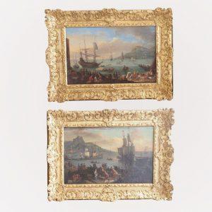 Adrien Manglard - Paire de tableaux Marine