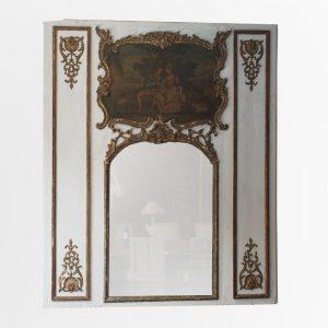Trumeau d'époque Louis XV en bois peint