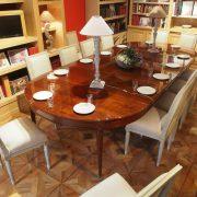 Grande table de salle à manger à bandeau en acajou