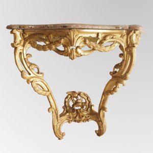 Console en bois doré, transition des époques Louis XV - Louis XVI